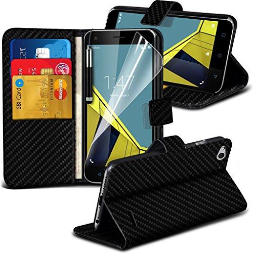 Vodafone intelligente 6 cas Titulaire ultra de téléphone Universal Support de voiture tableau de bord et pare-brise pour iPhone yi -Tronixs Carbon Fiber Black Wallet