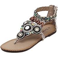 Clip eólica nacional toe sandalias planas Bohemia artesanales plano biselado zapatos de mujer con cremallera estudiantes calzado romano ,37, m blanco
