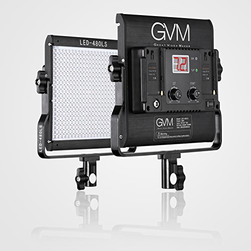 GVM LED Fotografie Beleuchtungs panel Kontinuierliches Beleuchtung panel 480LS CRI97 + TLCI97 + Dimmable Zweifarbiges 2300K-6800K Video Licht für im Freien Interview Studio Light Portrait Photographic (480LS-B) (Video-portrait)