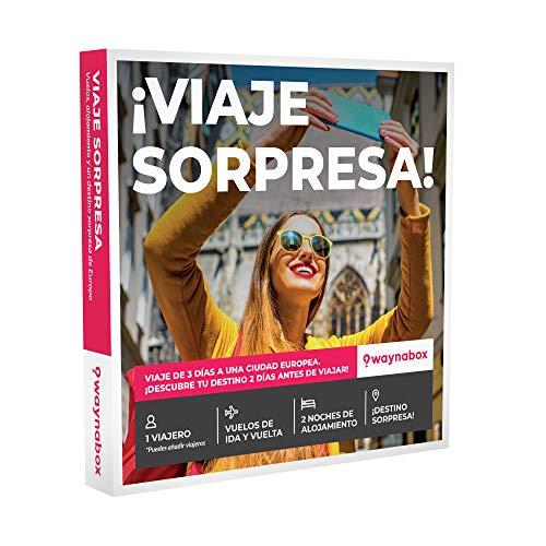 Waynabox Caja Regalo ¡Viaje Sorpresa! Vuelos + 2 Noches en una Ciudad Europea. El Mejor Cofre de experiencias para Regalar