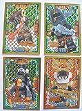 Lego Ninjago Serie 4 - 4 Limitierte Gold Karten Trading Card LE 7 Mega Power Samurai X LE 22 Heavy Metal LE 23 Arkade LE 25 Beinloser Jäger + 1 Ninja Schutzhülle