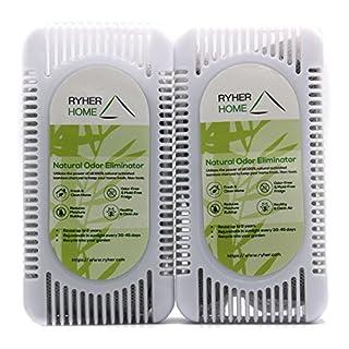 Ryher 2X Natürliches aktivierendes Kühlschrank-Deodorant aus Bambus-Kohle - Lufterfrischer und Geruchs-Entferner für Kühlschränke, Schränke, Küchen – 2 Jahre nutzbar – Öko-Freundlich (Packung aus 2)