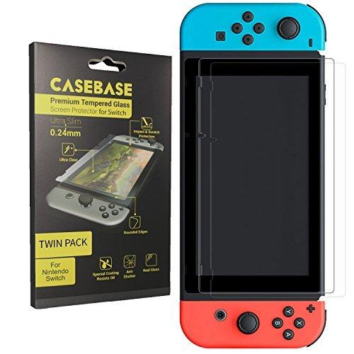 Switch Displayschutzfolie von CaseBase - 100% transparent mit schützender Oleophobierung - DOPPELPACK Premium gehärtetes Glas Display Schutz für Nintendo Switch Tablet-Bildschirm (Modell 2017)