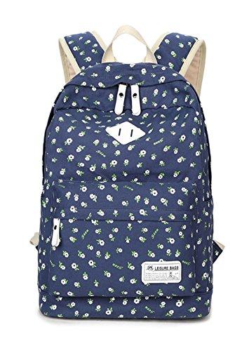 Keshi Leinwand Cool Schulrucksäcke/Rucksack Damen/Mädchen Vintage Schule Rucksäcke mit Moderner Streifen für Teens Jungen Studenten Tiefblau