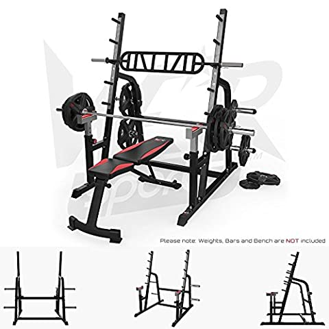We R Sports Adjustable Weight Lifting Squat Rack Gym Bench