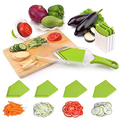 Uten Trancheuse de Légumes Mandoline 4 en 1 avec 6 lames en acier inox Interchangeables Coupe-légume professionnel pour Fruit,Oignon,Carotte,Tomato multifonction