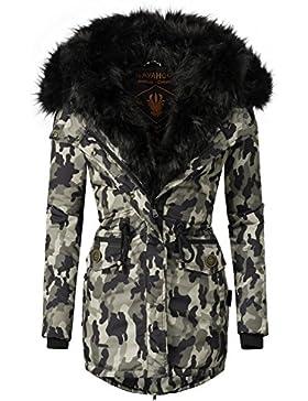 Navahoo Sweety Abrigo de invierno para mujer con capucha de pelo sintético doble