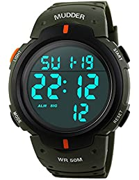 Reloj Deportivo Digital Impermeable 5ATM, Verde del Ejército