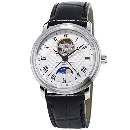 Frederique Constant Men's Classics Moonphase 40mm Leather Band Steel Case Automatic Watch FC-335MC4P6