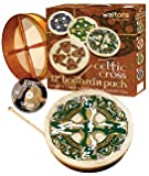 "Waltons: 12"" Inch Irish Bodhran Gift Set / Beater / DVD Tutor/ Case / Gaelic Cross Bodhran Design"