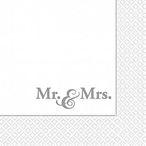 """20 SERVIETTEN 3 lg. """" Mr.& Mrs. """" HOCHZEIT SILBER GOLDHOCHJZEIT TISCHDEKO DEKO"""