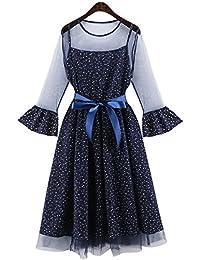 Pequeños traje de vestir falda de gasa floral fresco suelta de manga larga y largas secciones honda velo neto falsificación dos