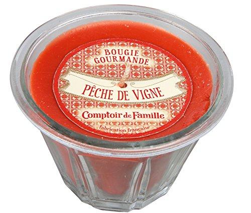 Comptoir de Famille 122640 Bougie Pêche de Vigne Verre Rouge 35 x 24 x 9 cm