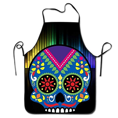 ERCGY 2019 Apron Unisex Sugar Skull Lock Edge Cooking Apron Women Men ()