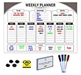 Magnetic Weekly Meal Planner | A3 Dry Erase Chore Planner, Meal Planner, Event Planner With Magnetic Eraser, 4 Magnetic Markers, 4 Magnetic Buttons, 100 Video Recipes. Perfect Daily Planner
