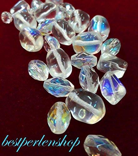 50g Boehmisches Glasperlen Crystal und Crystal AB Klar Mix PRECIOSA TSCHECHISCHE Kristall Perlen Set, Basteln Schmuck set 6mm - 20mm R229 -