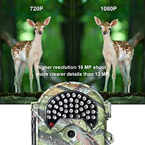 FLAGPOWER Waterproof Hunting Trail Camera, No Glow Infrared 16MP 1080P HD Wildlife Camera with 130°Wide Angle Night Vision up to 65ft, Scouting Camera with 38pcs 940nm IR LEDs