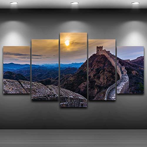 lsweia Leinwand Malerei 5 Panel Great Wall Sonnenuntergang Landschaft Bild Wohnkultur Für Moderne Wohnzimmer Wandkunst Leinwanddruck Kunstwerk