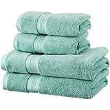 Pinzon - Juego de toallas de algodón Pima (2 toallas de baño + 2 toallas de mano), color verde mineral