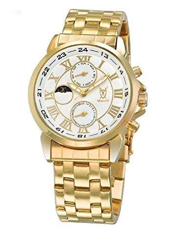Konigswerk Herren Klassische Gold-Armbanduhr weißen Zifferblatt römische Ziffern Tag Datum Sonne Mond AQ202472-1G