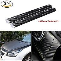 Audew Pegatinas 3D Carbono Negro Pack 2 Fibra de Vinilo Adhesiva Para Coche Moto Móvil Prueba de Agua 1300X300MM/Pack
