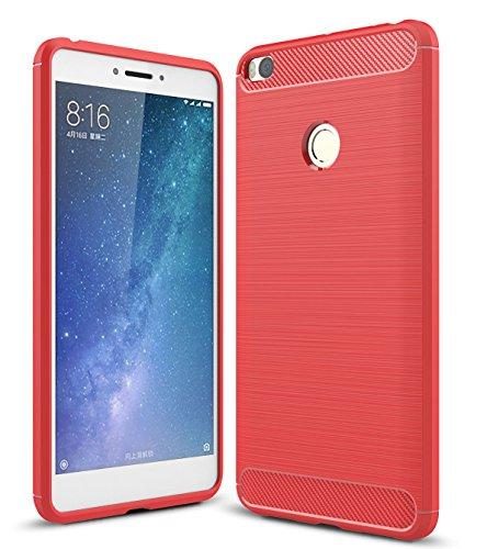 XiaoMi Mi Max 2 Hülle, SMTR Ultradünn Weich Silikon Schutzhülle [Advanced Shock Absorption Technology][Schutz vor Stürzen und Stößen] für XiaoMi Mi Max 2 - Rote
