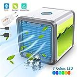 Mini Luftkühler - 3 in 1 Klimaanlage Luftkühler, Mobile Klimageräte Air Cooler, Luftbefeuchter und Luftreiniger, 3 Stufen und 7 Farben LED Nachtlicht, Adapter 5V / 2A (Weiß, 1 Generation)