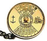 100Jahre Ewiger Kalender mit Welt Zeit Taschenrechner; Schöne 5,1cm Messing Schlüsselanhänger