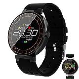 Männer Smartwatch, Farbbildschirm Fitness-Uhr mit Pulsmesser Uhr Ip67 Wasserdicht Smart Band mit Schrittzähler Schrittzähler Fitness Tracker,Black