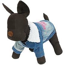 XHD-Ropa para mascotas Ropa para mascotas Chaqueta de invierno para perros Vaqueros Ropa para mascotas Ropa de abrigo Collar para el cabello Mezclilla ( Color : Blue )