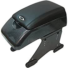 Boloromo 48015 Apoyabrazos Consola Central Reposabrazos Tuning Acolchado Soporte Caja de Consola Posavasos Negro Carbón