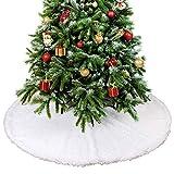 Gonna per albero di Natale in peluche - Effetto neve Base , copribase decorazione perfetta per il tuo albero di Natale - Copri Diametro di 90 cm, adatta per alberi di qualsiasi dimensione