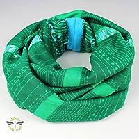Rund-Schal Loop Damen grün warm & kuschelig Jersey-Stoff HANDMADE