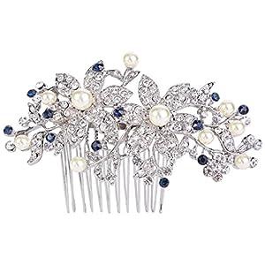 EVER FAITH® Silber-Ton österreichische Kristall Cream künstliche Perle Graceful rotbud Blume Haarkamm