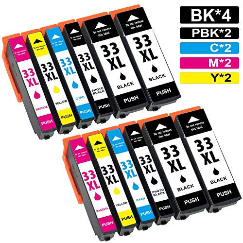 Jagute 33XL Cartucce Sostituzione per Epson 33XL 33 XL Cartucce d'inchiostro Compatibile con Epson Expression Premium XP 540 XP-530 XP-645 XP-830 XP-635 XP-640 Confezione da 12
