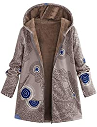29ad958103d7 Lvguang Wintermantel Retro Drucken Flauschigen Outwear Damen Mantel Mit  Kapuze Wärmer Weich Jacken