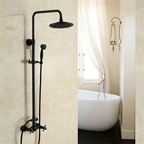 Hlluya Wasserhahn für Waschbecken Küche Die Kupfer Schwarz Dusche Bad mit kaltem Wasser Hahn nur Dusche mit abnehmbarem Duschkopf.