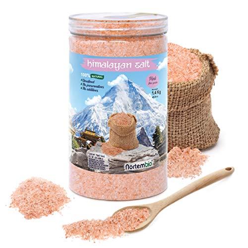 Nortembio Sal Rosa del Himalaya 1,4 Kg. Fina (1-2 mm). 100% Natural. Sin Refinar. Sin Conservantes....