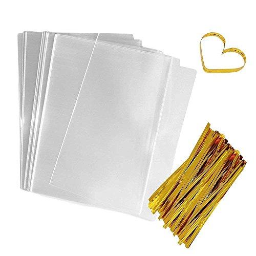 beutel 15 * 23 cm transparente Flachbeutel Geschenktasche klare Flache Tasche Süßigkeiten Beutel für Partybevorzugungen Cookies ()