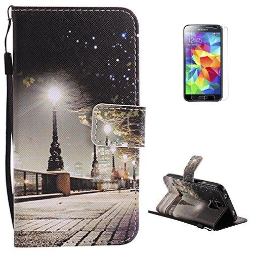 KaseHom for Samsung Galaxy S5 Buntes Leder Hülle Premium Folio Magnetischer Flip Leder Brieftasche (Strassenlicht) Muster Entwurf Federung Stoßstange Schützend Haut Abdeckung Halfter