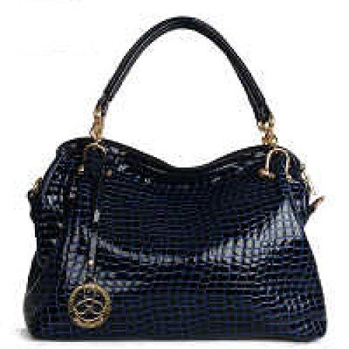 PACK Trend Handbags Ladies Messenger Borse Grandi Borsa A Tracolla Bright Skin Temperamento Generoso Luce Di Grande Capacità,B:Black C:SapphireBlue