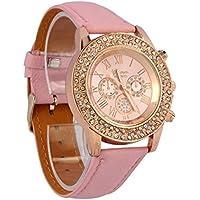 Vovotrade® Cristallo delle signore del cuoio della manopola di quarzo analogico polso orologio da polso (rosa)