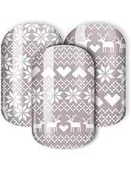 """Nail Wraps/Nagelfolien -""""Winterfräulein"""" - winterliches Design mit Rentier & Schneeflocke im norwegischen Pulli-Stil (grau, weiß)"""