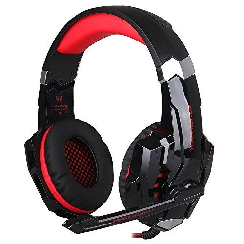 KOTION EACH G9000 3,5 mm Noise Cancelling Gaming Headset mit Mikrofon und Lautstärkeregler Stereo Surround Sound für PC iPhone Samsung Mobile Phones (schwarz + rot)