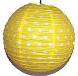 AAF Nommel®, Lampion 1 Stk. Papier, gelb mit weissen Punkten, Asia-Art-Factory, rund Ø 40 cm, Nr. 730