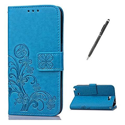 Feeltech Samsung Galaxy Note 2 Bookstyle Étui en Cuir Case à Rabat Magnétique Fermeture Coque de Protection avec Porte Carte et Stand, Ultra Slim Portefeuille Motif Case Cover pour Samsung Galaxy Note 2 - Trèfle-Bleu