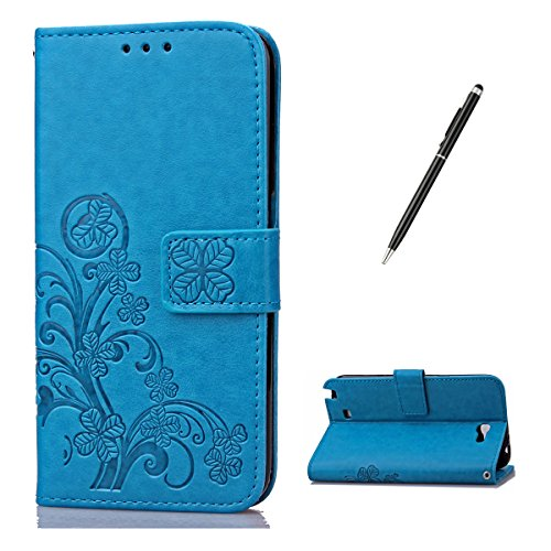 Feeltech for Samsung Galaxy Note 2 PU Leder Hülle- Klee-Blau (Samsung Note 2 Hülle Cover)