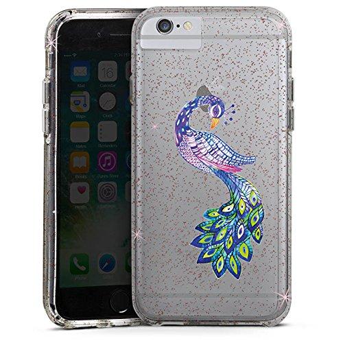 Apple iPhone 6 Plus Bumper Hülle Bumper Case Glitzer Hülle Pfau ohne Hintergrund Feder Bumper Case Glitzer rose gold
