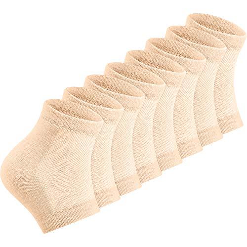 Weich Gel Fußgelenkstütze Heelsocken Lüften Open Toe Socken 4 Paare für Trockene Hart Gerissene Haut Feuchtigkeitsspendende Tag Nacht Pflege Haut (Haut)