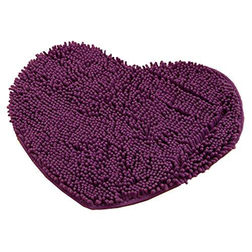 Rabatt Geflochtene Teppiche (weichen Chenille herzförmigen Schlafzimmer Teppich Tür Matte Teppich dunkel lila)